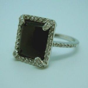 Onyx, CZ & Sterling Ring